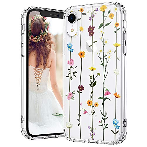 MOSNOVO iPhone XR Case, Clear iPhone XR Case, Wildflower Floral Flower Pattern Clear Design Transparent Plastic Hard Back Case with Soft TPU Bumper Protective Case Cover for Apple iPhone XR