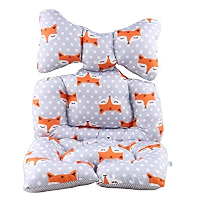 Infant Car Seat Insert, KAKIBLIN Cotton Baby Stroller Liner Head and Body Support Pillow, Infant Seat Pad Carseat Neck Support Cushion for Toddler, Fox