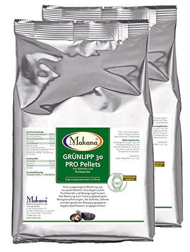 Makana Grünlipp 30 Pro Pellets, Grünlippmuschel Teufelskralle Kräutermischung, 2er Pack (2 x 1 kg)