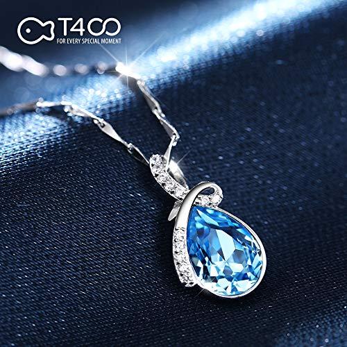 『T400ジュエリー レディースネックレス シルバー925 青い クリスタル 雫モチーフネックレス プレゼント(チャェン:40+5CM))』の6枚目の画像