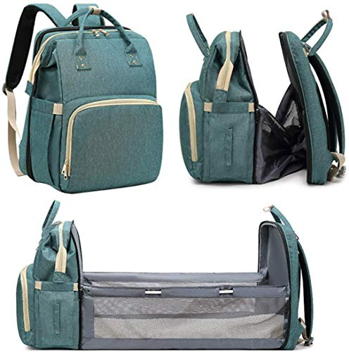 HYWOT Faltbarer 3-in-1-Rucksack für Kinderbett, Wickeltasche, tragbar, für Babyzimmer, Reisebett, isoliert, mit Taschen für Flaschen, Grün