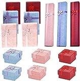 FLYAND Paquet de 15 bijoux Coffret cadeau, Rectangle SquareJewellery Affichage Coffrets cadeaux avec couvercle, coffrets cadeaux Bow cadeaux for BoxesBow Présentation avec mousse Bijoux Insertion, Cof