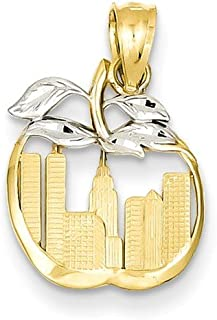 14k Cut Out New York Skyline In Apple Pendant Charm Necklace Travel Transportation Fine Jewelry Gifts For Women For Her