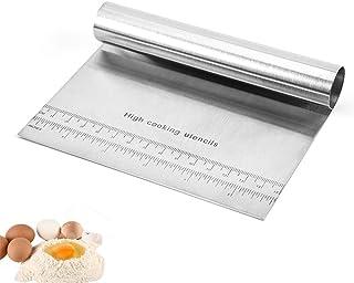 OnLove Stainless Steel Dough Bowl Scraper, Food Grade Dough Cutter, Flexible Practical Bench Scraper Spatula, Multi-Purpos...