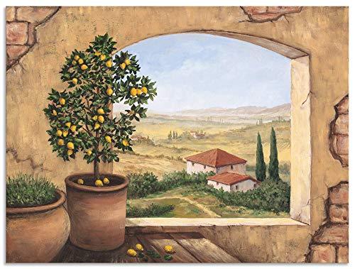 Artland Wandbild Alu für Innen & Outdoor Metall Bild 80x60 cm Fensterblick Fenster Toskana Italien Landschaft Aussicht Malerei T5ZG