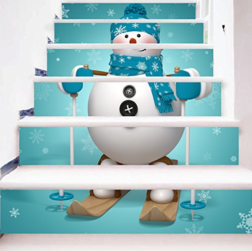 zhiyu&art decor 3D Christmas Snowman Stair Stickers Decals-6Pcs/Set Snowman Stair Risers Stickers Decals Removable Staircase Decals Vinyl Wall Sticker for Christmas Decoration