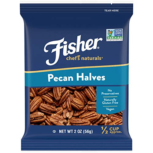 FISHER Chef's Naturals Pecan Halves, 2 oz, Naturally Gluten Free, No Preservatives, Non-GMO