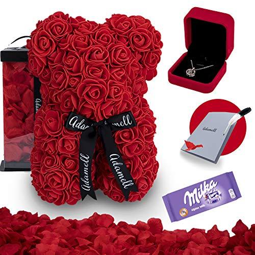 Rosen Teddybär 25cm mit geschenkbox, einzigartiges geschenk für frauen, freundin, kinder - Exklusiver Rosenbär zum Muttertag, Geburstag & Jahrestag - Blumen Teddy Bär voller rosenblätter (5 in 1) Rot