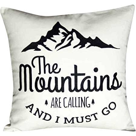 Hofdeco Decorative Throw Pillow Cover Heavy Weight Cotton Linen Quotes And Sayings The Mountains Are Calling And I Must Go Script 18 X18 45cm X 45cm Home Kitchen