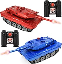 """Click N' Play RC Battle Tank Infrared Full Size 15"""" Tanks with LED Indicators Rotating Turret Detailed Designed Realistic Lights & Sounds Single & Multi-Player Modes (Set of 2) (CNP4792)"""