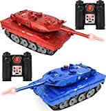 "Click N' Play RC Battle Tank Infrared Full Size 15"" Tanks with LED Indicators Rotating Turret Detailed Designed Realistic Lights & Sounds Single & Multi-Player Modes (Set of 2) (CNP4792)"