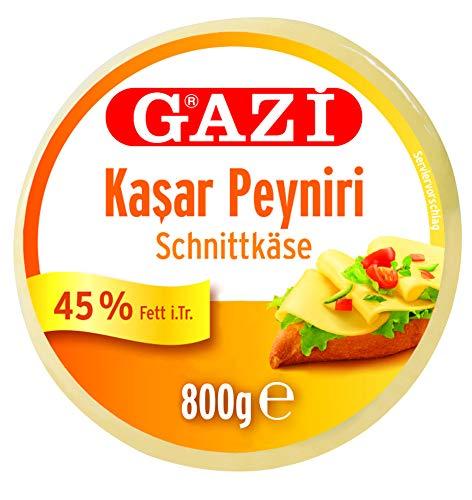 Gazi Kashkaval Schnittkäse - 2x 800gramm Vakuum - Kasar Peyniri Hartkäse Kuhkäse Käse aus Kuhmilch 45% Fett i.Tr. als Pizzabelag, zum Überbacken von Aufläufen, vegetarisch, glutenfrei, Halal