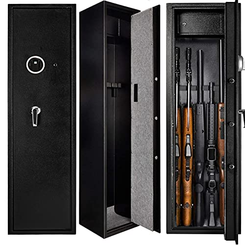Quicktec Large Rifle Safe, Gun Safe for Home Rifles and Pistols, Quick Access 5-6 Gun Cabinet Shotgun Safe (with/Without Scope) with Pistol Lockbox Slient Mode (Large Gun Safe-Biometric)