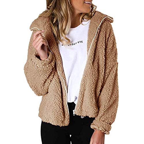 WUAI-Women Hoodie Thicken Fleece Fur Warm Zipper Winter Coat Hoodie Parka Overcoat Jacket(Khaki,XX-Large