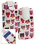 emartbuy® Mehrfarbig Eules Print Premium PU Leder Slide in Hülle Tasche Sleeve Abdeckungs Halter (Größe LM4) Mit Pull Tab Mechanism Passend für Allview X3 Soul Pro Smartphone