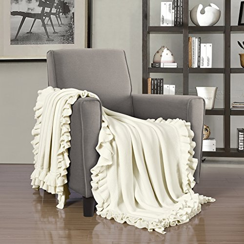 Five Queens Court Jackie Double Ruffle Knitted Cotton Throw