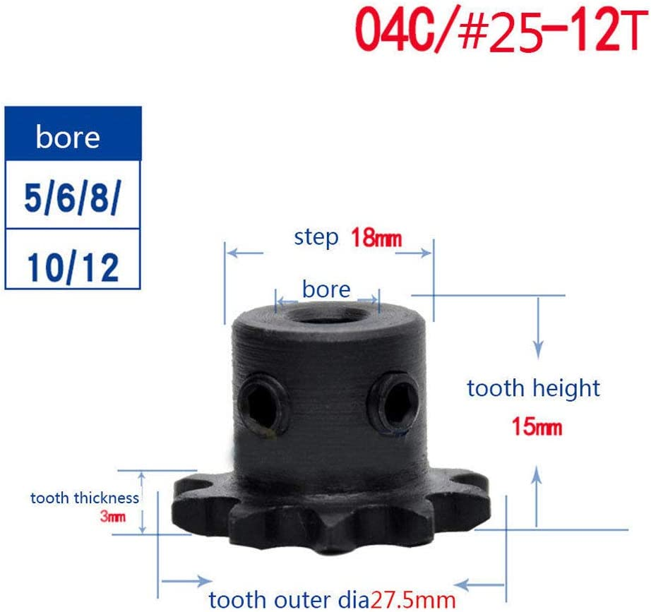"""Chain Drive Sprocket Wheel 04C 35T Bore 6-12mm Pitch 1//4/"""" 6.35mm for 04C Chain"""