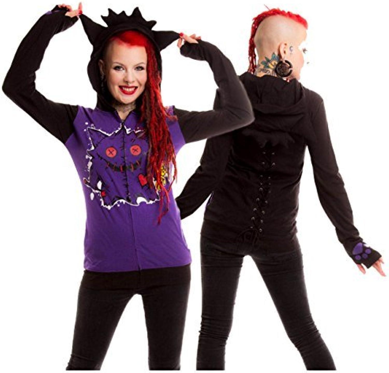 Ghostly Hallows Voodoo Monster Purple Black Red Corset Back Long Sleeve Zip Ears Hoodie 614