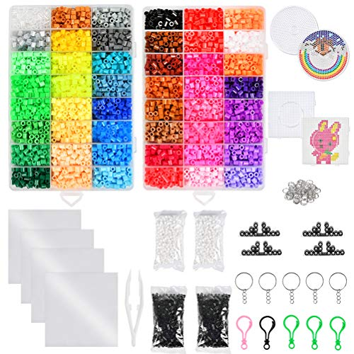 YANSHON 12800 Iron Beads for Kids, 48 Bright Colors Fuse Beads Kit with Square...