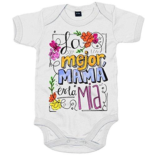 Body bebé Día de la Madre la mejor mamá es la mía - Blanco, 6-12 meses
