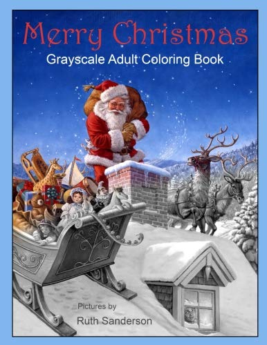 Merry Christmas: Grayscale Adult Coloring Book