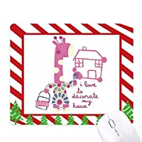 ピンクハウスのキリンの漫画の動物を飾る ゴムクリスマスキャンディマウスパッド