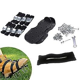 HNZNCY Aérateur de pelouse manuel – Chaussures à pointes – Pour jardin – Vert