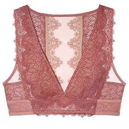 Victorias Secrets Dream Angels Pink Mesh Chantilly Lace Plunge Bralette Medium
