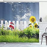 ABAKUHAUS Rústico Cortina de Baño, Flores de la Margarita en el Patio, Material Resistente al Agua Durable Estampa Digital, 175 x 200 cm, Blanco Azul Verde