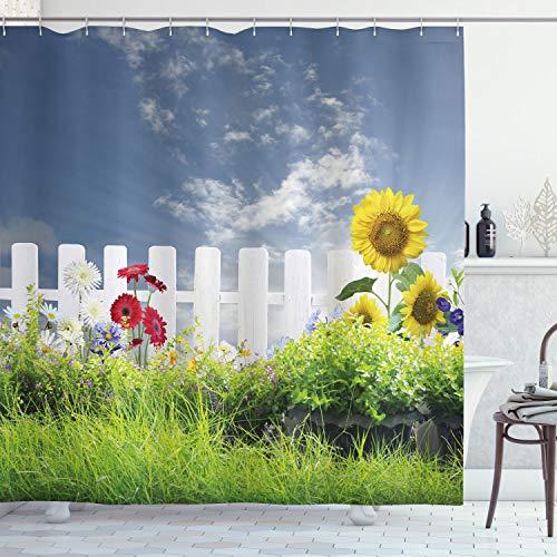ABAKUHAUS Duschvorhang, Gras Laub Feld mit Sonnenblumen Gänseblümchen Natur Wolken Landschaft Digital Foto Druck, Blickdicht aus Stoff inkl. 12 Ringe für Das Badezimmer Waschbar, 175 X 200 cm