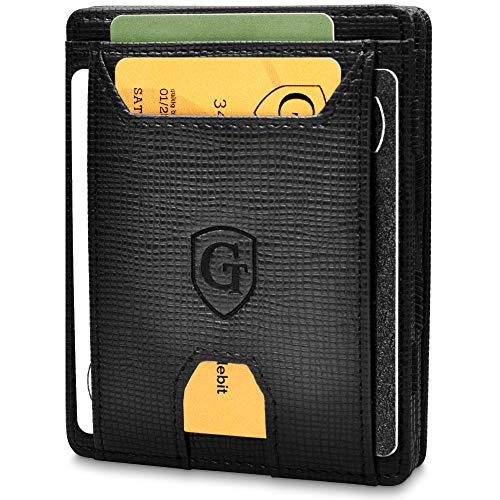 Pacific - Smarte Geldbörse - TÜV geprüft - Magic Wallet - Magischer Geldbeutel mit großem Münzfach - Inkl. Geschenkbox - Smart Wallet - Portemonnaie Herren Damen (Schwarz - Saffiano)