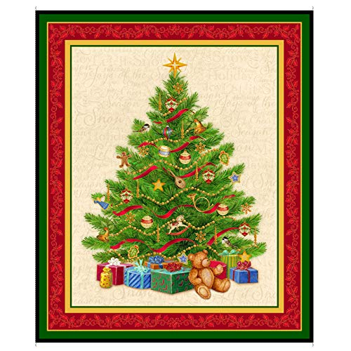 QT Quilt Fabrics Digital O Tannenbaum Christmas Tree 36in Panel Green