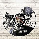 MZW Reloj de Pared LED con Registro de Vinilo 3D Reloj de Pared Colgante silencioso Retro Decoración de la habitación para niños The Brave Little Toaster, No Led