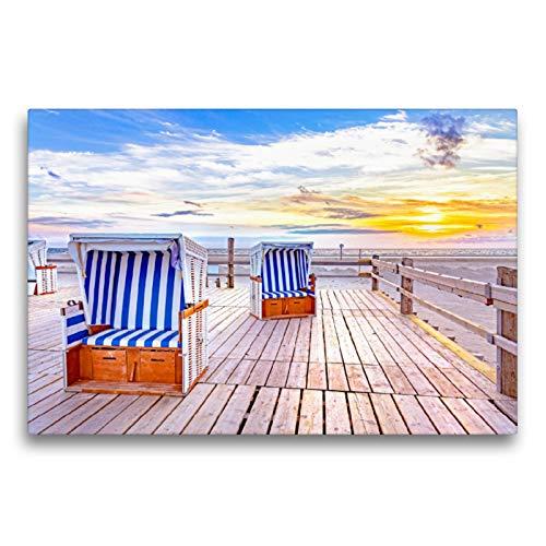 CALVENDO Premium Textil-Leinwand 75 x 50 cm Quer-Format SPO Strandkörbe im Sonnenuntergang, Leinwanddruck von Andrea Dreegmeyer