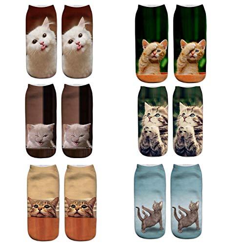 Las mujeres lindas calcetines de impresión de gato 6PC deportes medias calcetines...
