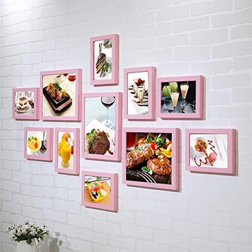 HEWEI foto-wandfoto, fotolijst, voor collage, 12 ramen, trap, multi-gallerie, decoratie, 5 kleuren (zwart)