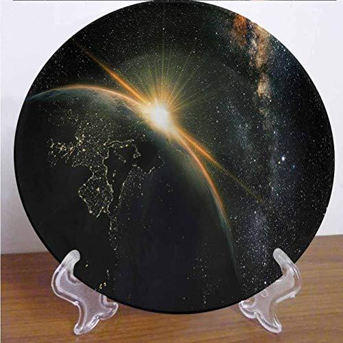 Channing Southey Plato de cerámica galaxia de 25,4 cm, plato redondo de cerámica de porcelana para microondas y lavavajillas, accesorio de decoración para fiestas, cocina, decoración del hogar