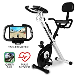 Miweba Sports Indoor Xycling X-Bike Fitnessbike - 3 kg vliegwielmassa - Polsslagmeet - 8 weerstandsniveaus - App-functie (Zwart Wit)*