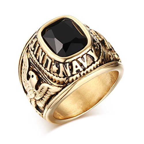 VNOX United States Navy Rings,Marine Corps,USMC,Stainless Steel Gold Plated Black CZ Stone,Size 10