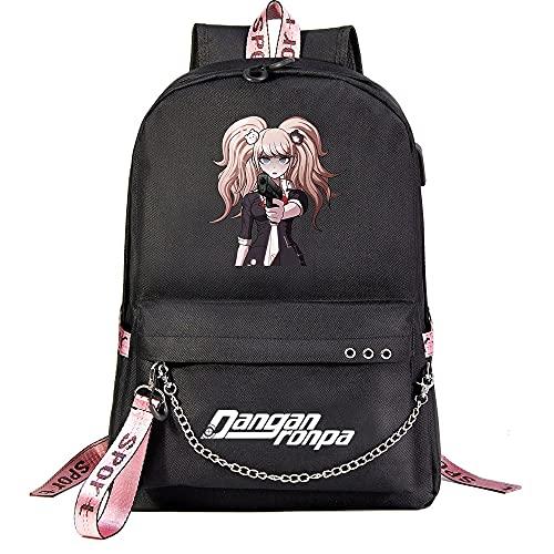 ZZGOO-LL Anime Movie Animal Cartoon with Chain USB Anime Laptop Backpack Bag Travel Mochilas Daypacks Bolso Ligero Black-E