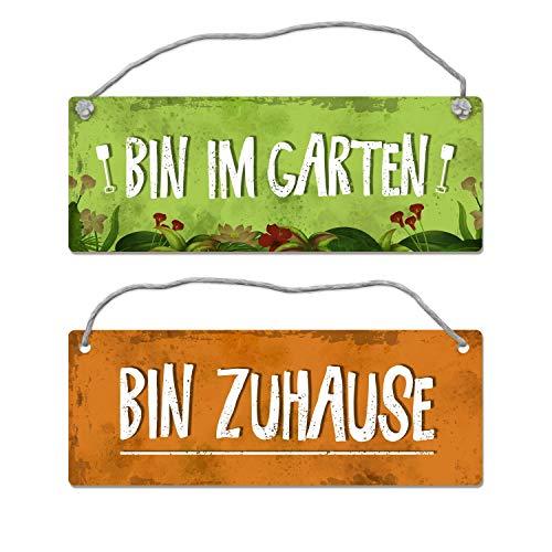 trendaffe - Bin im Garten - Bin Zuhause Wendeschild mit Kordel
