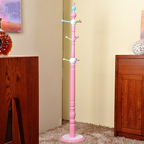 LWF Perchero Perchero de Madera Maciza para niños/Dormitorio de suspensión para Colgar en el Piso de un Adolescente/Percha de Moda/Perchero Rosa/Perchero y protección Ambiental Rosa (Color : B)