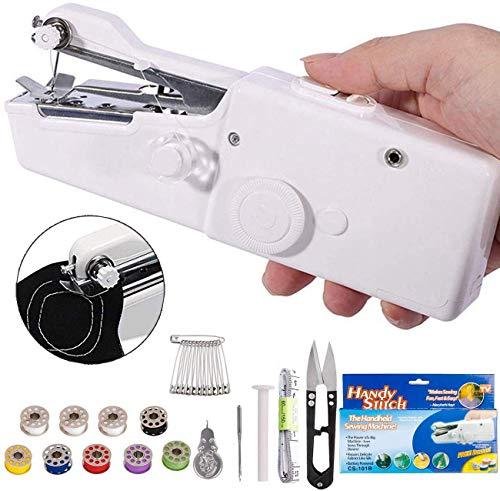 DUTISON Mini Macchina da Cucire, Portatile Handheld Cordless Strumento di Cucitura Rapida per Domestico da Viaggio con 15 PCS Accessori (Bianca)