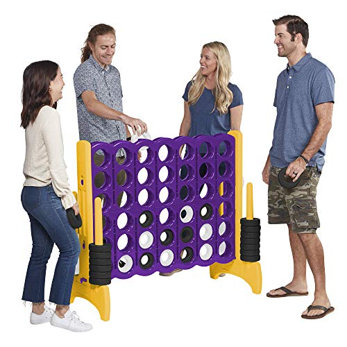 ECR4Kids Jumbo 4-To-Score Giant Game Set - Oversized 4-In-A-Row Fun for Kids, Adults and Families - Indoors/Outdoor Yard Play - 4 Feet Tall - Purple and Gold