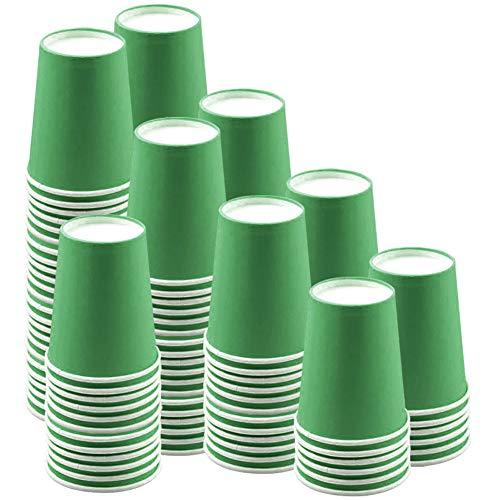 JINLE 120 Piezas Tazas de Papel Verde Vasos de Desechable Fiesta Tazas de Beber Biodegradables y Compostables para Fiesta de Cumpleaños, Bricolaje, Barbacoa,Café - 250ml