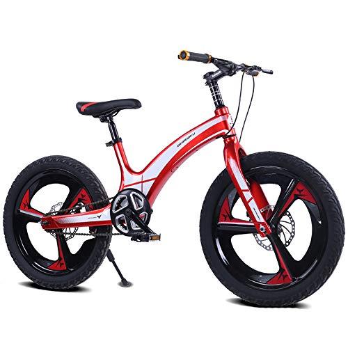 LISI Bicicletta da Bambino in Lega di magnesio da 20 Pollici Maschio e Femmina da Montagna Studente Disco Freno a Singola velocità Bicicletta Bambini,Red