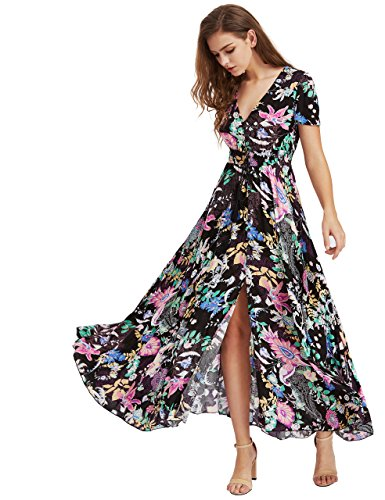 Milumia Women's Button Up Split Floral Print Flowy Party Maxi Dress XX-Large Black
