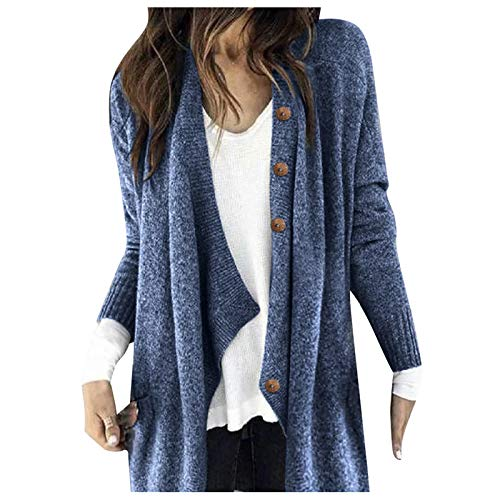 Calvinbi Damen Mode Casual Solid Knit Strickjacke Plus Size Button Langarm Cardigan Coat