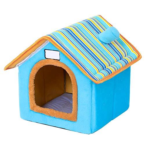 Cozyhoma draagbaar huisdier huis, huis vorm opvouwbare kat grot huis zachte hond bed wasbaar met verwijderbare kussen waterdicht, Blauw-m