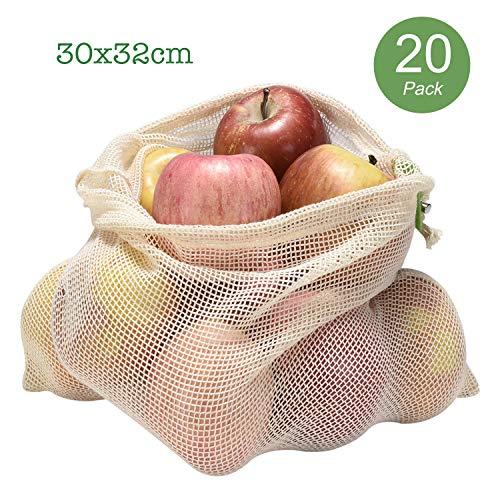 JUMIDA Obst- und Gemüsebeutel aus Bio-Baumwolle | Obstnetz Gemüsenetz Einkaufsnetz Einkaufsbeutel | Obst- und Gemüsenetz | Umweltschonend Nachhaltig Waschbar | Mit Gewichtsangabe | (20er-30x32cm)